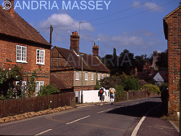 Puttenham Surrey Ramblers walking down the main street