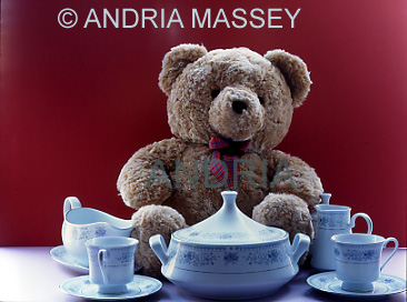 Teddy sitting at a table surrounded with crockery