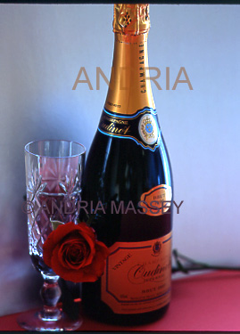Champagne bottle flute and a red rose on a dark background