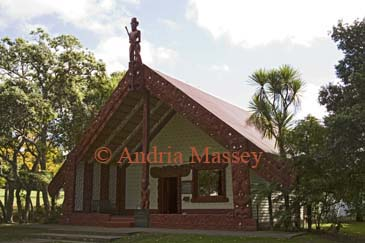 WAITANGI NORTH ISLAND NEW ZEALAND May Te Whare Runanga a meeting house opened during the Treaty Centenary Celebrations in 1940 it symbolises Maori involvement in the signing of the Treaty and in the life of the nation