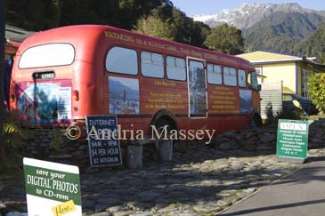 FRANZ JOSEF WEST COAST SOUTH ISLAND NEW ZEALAND May An unusual internet cafe housed in a single decker bus