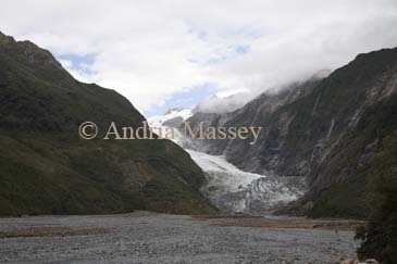 FRANZ JOSEF WEST COAST SOUTH ISLAND NEW ZEALAND May The retreating ice of the Franz Josef Glacier in the Southern Alps