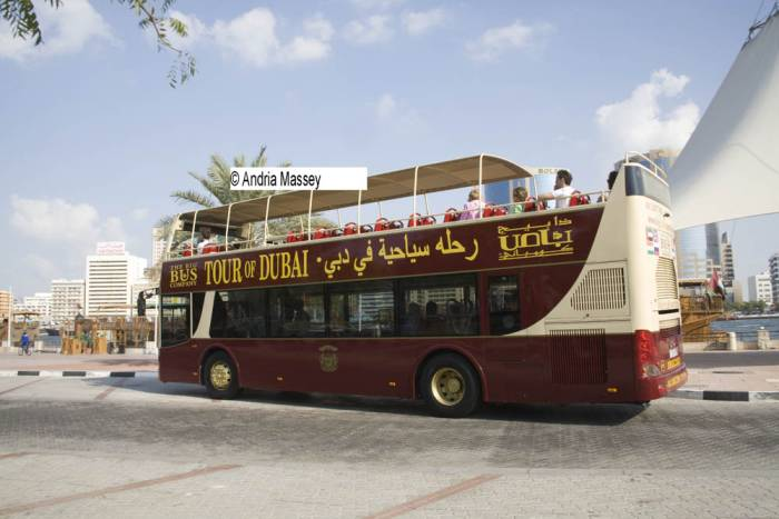 Dubai United Arab Emirates  A Big Bus Company double decker tourist bus stopped for passengers to hop off  for the Creek Walk