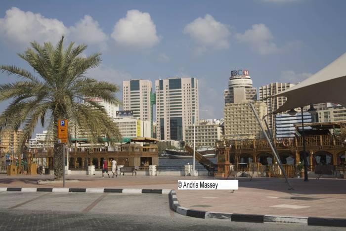 Dubai United Arab Emirates Floating restaurants housed in wooden Dhows moored in Bur Dubai Creek at Al Seef Road