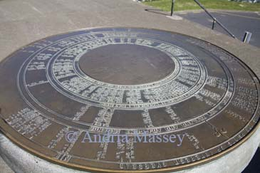 AUCKLAND NORTH ISLAND NEW ZEALAND May A circular metal map and multi directional information point on the popular Mount Eden