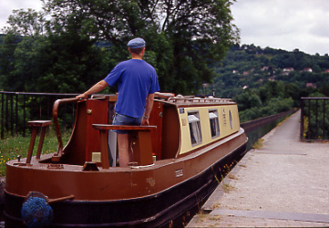 Llangollen North Wales Canal boat on the Pontycysylite Aquaduct built by Thomas Telford 1795-1805