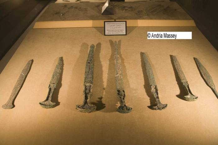 Dubai United Arab Emirates Bronze daggers from Al Qusais 2nd Millennium BC displayed in Sheikh Mohammed Bin Rashid Al Maktoum Hall in Dubai Museum
