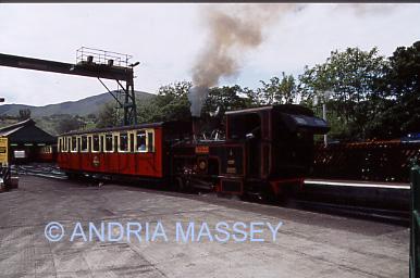 LLANBERIS NORTH WALES Steam train of the Snowdon Mountain Railway in Llanberis Station - takes visitors to Snowdon Summit
