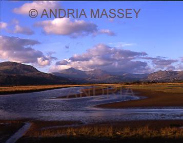 Porthmadog North Wales Corsydd Afon Glaslyn Marshes from The Cob towards Snowdonia