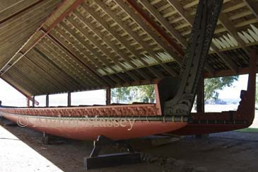 WAITANGI NORTH ISLAND NEW ZEALAND May Maori War canoe Ngatokimatawhaorua named after the famous vessel in which Kupe the Navigator discovered New Zealand