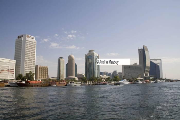Dubai United Arab Emirates Iconic buildings in Deira on the side of Dubai Creek