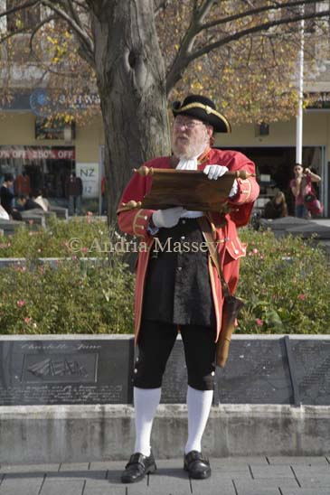 CHRISTCHURCH SOUTH ISLAND NEW ZEALAND May Town crier reading out a declaration in Cathedral Square
