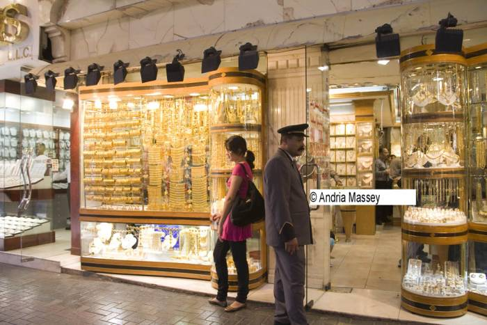 Dubai United Arab Emirates One of the shops with a huge range of jewellery for sale in the Gold Souk