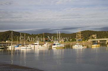 WAITANGI BAY OF ISLANDS NORTH ISLAND NEW ZEALAND May Yachts moored in the Waitangi River in late evening light