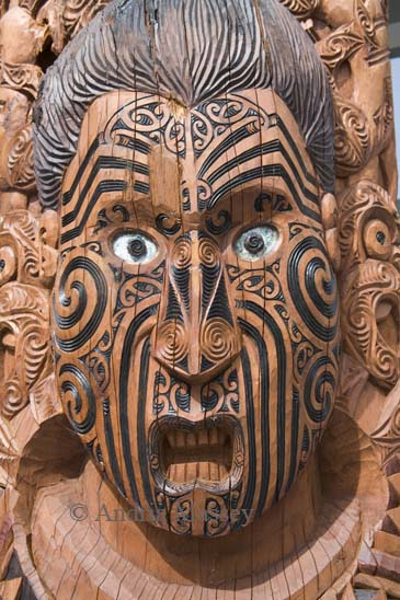 ROTORUA NORTH ISLAND NEW ZEALAND May A carved wooden figure of a Maori ancestor produced by students of the Arts and Crafts Institute of Te Puia