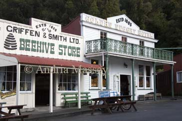 GREYMOUTH CENTRAL SOUTH ISLAND NEW ZEALAND May The Golden Nugget Hotel and Beehive Stores preserved buildings in Shantytown a replica town
