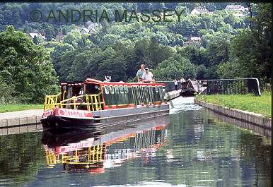 Llangollen North Wales Narrowboat coming through Pontcysyllte Aqueduct on the Shropshire Union Canal - built by Thomas Telford