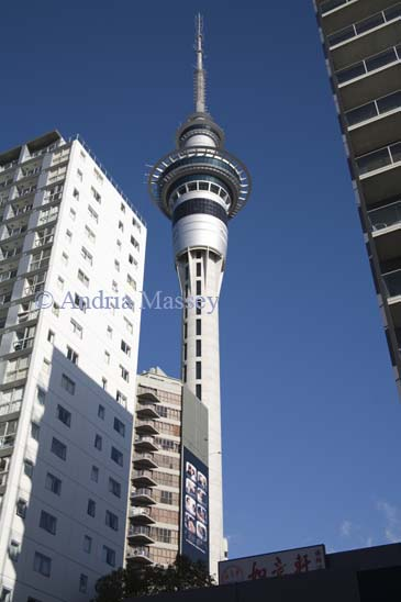 AUCKLAND NORTH ISLAND NEW ZEALAND May The impressive Sky Tower dominates the Central Business District with an observation deck offering 360 degree view and the Sky Deck 34m higher