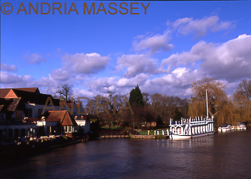 Streatley Berkshire View down the River Thames with the Swan Hotel at the side