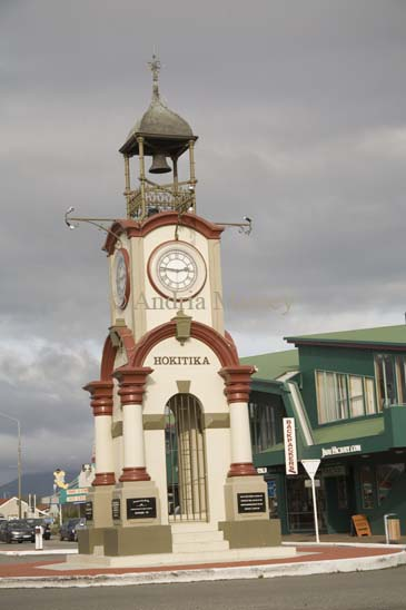 HOKITIKA WEST COAST SOUTH ISLAND NEW ZEALAND May A commemorative clock and bell tower to the coronation of King Edward V11 August 1902 in the centre of this town which owes its existence to the gold rushes of the 1860s
