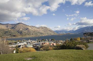 WANAKA SOUTHERN LAKES SOUTH ISLAND NEW ZEALAND May Looking down on this refined town and Lake Wanaka from a viewpoint high above the town