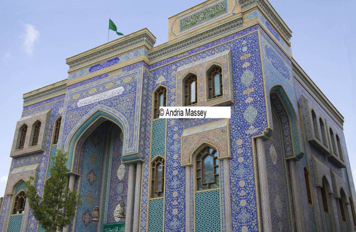 Dubai United Arab Emirates  One of the many Mosques in Bur Dubai different as decorated in blue tiles