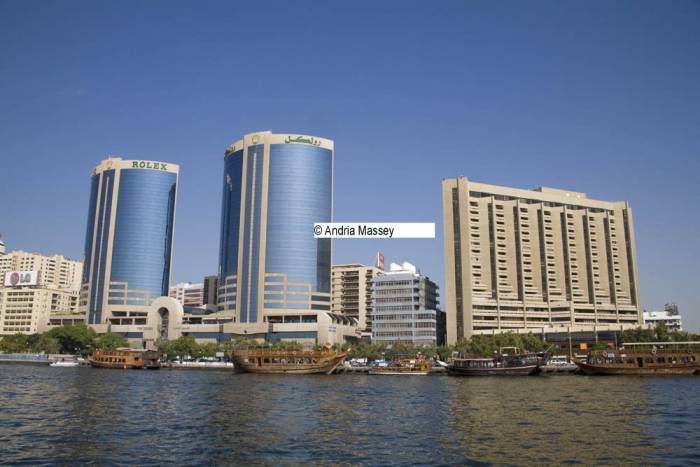 Dubai United Arab Emirates December View across Dubai creek to the Twin Towers in Deira