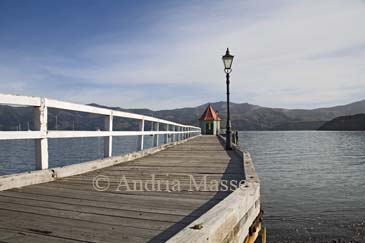 AKAROA BANKS PENINSULA SOUTH ISLAND NEW ZEALAND May Looking along Daly's Wharf to a little shelter which may have been a turret of a tower on Government Public School