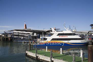 AUCKLAND NORTH ISLAND NEW ZEALAND May One of Fullers Ferries fast boats moored in Waitemata Harbour on the Waterfront