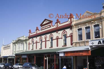 DEVONPORT AUCLAND NORTH ISLAND NEW ZEALAND May Some of the multi coloured Victorian buildings in the main street of this lovely town known as the marine playground