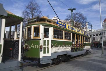 CHRISTCHURCH SOUTH ISLAND NEW ZEALAND May One of the clean low polluting  trams that takes tourists on trips around the city at a tramstop in Cathedral Square