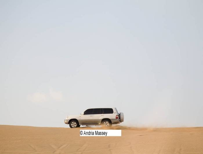 Dubai United Arab Emirates One of the 4 x 4 vehicles that take tourists duning during a desert safari