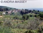 FONTERULI TUSCANY ITALY View of the town from the road to Castellina in Chianti
