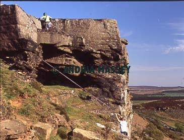 Climbing Peapod Curbar Edge Derbyshire  Format: Medium