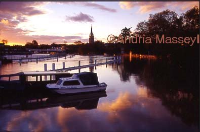 Marlow Buckinghamshire - Sunset over the River Thames - the river is in full  flood  Format: 35mm