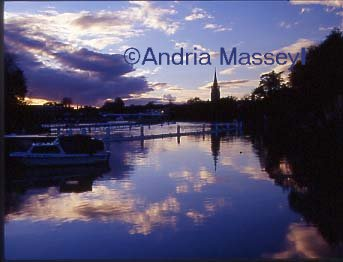 Marlow Buckinghamshire Sunset over the River Thames looking towards the Suspension  Bridge  Format: 35mm