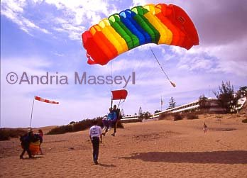 Playa d�Incles Gran Canaria Tandem skydivers on their way to  earth  Format: 35mm