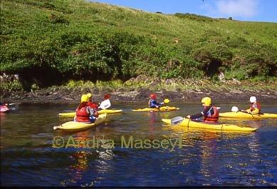 Nr St Davids Pembrokeshire Canoeing in Portclais Harbour  Format: 35mm