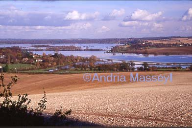 The Arun Valley from Bury Hill showing flooding - West  Sussex
